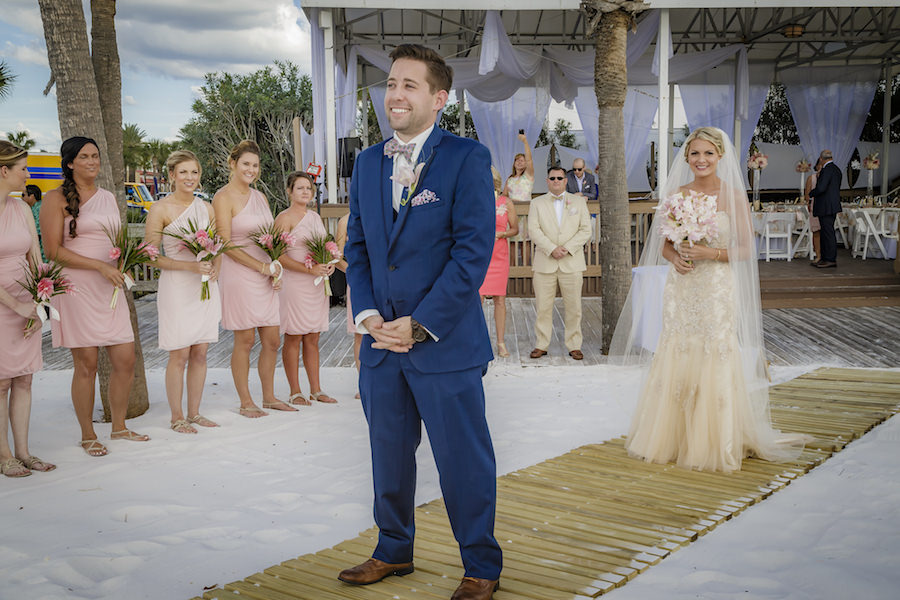 Tampa Bay and Groom First Look Wedding Portrait   Outdoor Waterfront Hotel Wedding Venue Hilton Clearwater Beach