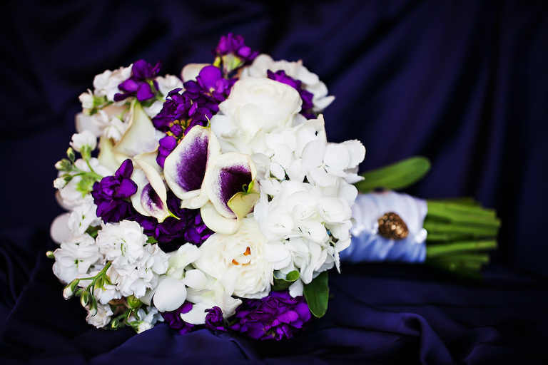 Ivory and Purple Bridal Bouquet of Flowers