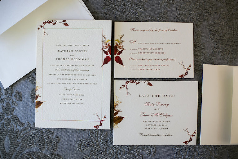 Fall Themed Ivory and Burgundy Wedding Invitation Suite with Leaf Motif by Wedding Paper Divas