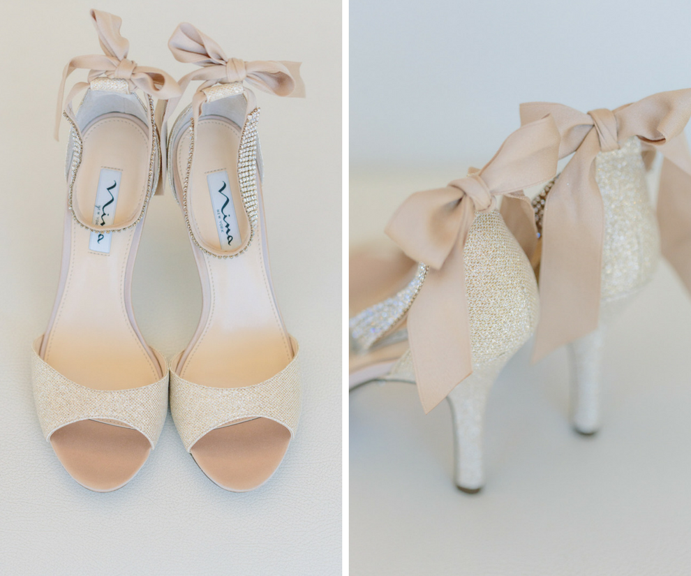 Champagne Sparkly Peep Toe Wedding Shoes with Satin Bow Back   Nina Vinnie Two-Piece Evening Sandals