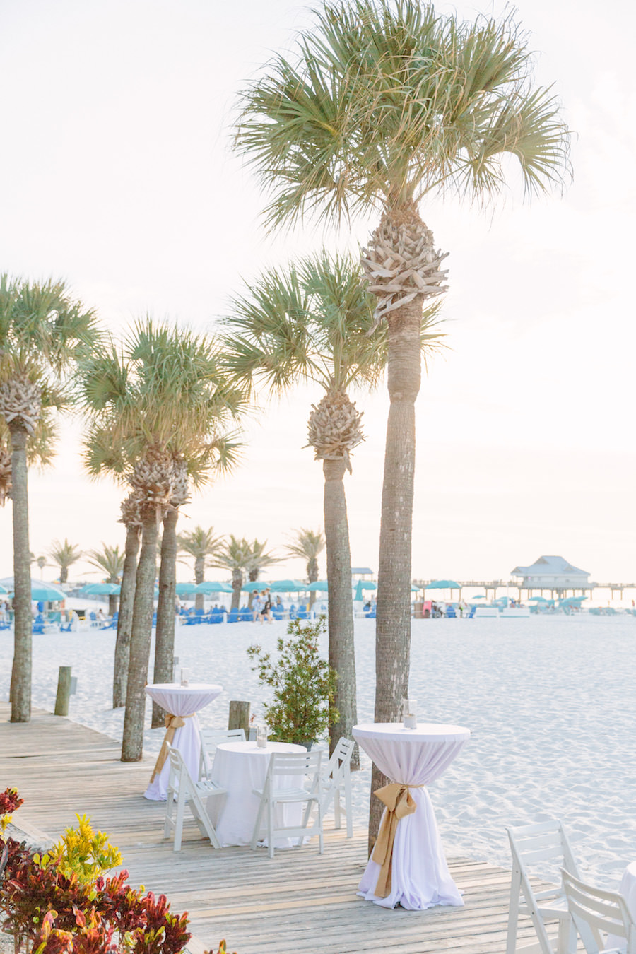 Outdoor Waterfront Wedding Cocktail Hour at Clearwater Beach Wedding Venue Hilton Clearwater Beach   Ivory and Gold Beachfront Wedding Ideas