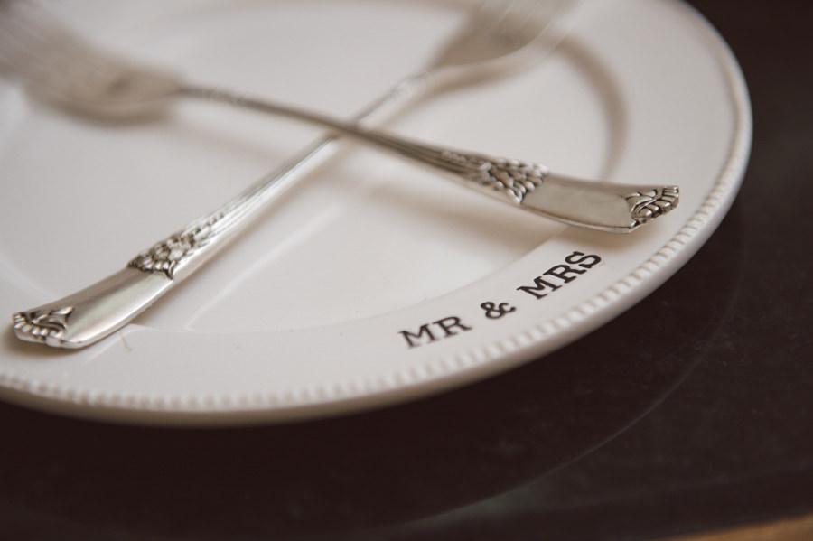 Mr and Mrs Custom Ivory Porcelain Wedding Dishes