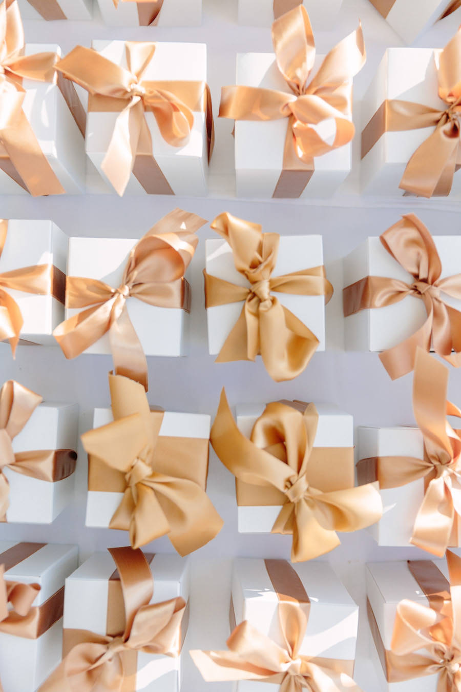 Ivory and Gold Wedding Favor Boxes