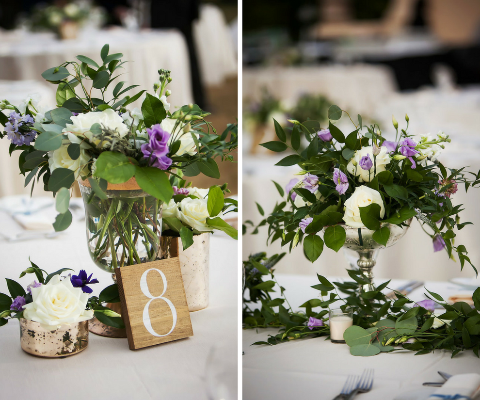 Rustic, Ivory Purple and Greenery in Clear and Silver Vases with Mercury Glass and Candles Centerpieces   Tampa Bay Wedding Planner NK Productions   Wedding Reception Decor and Inspiration