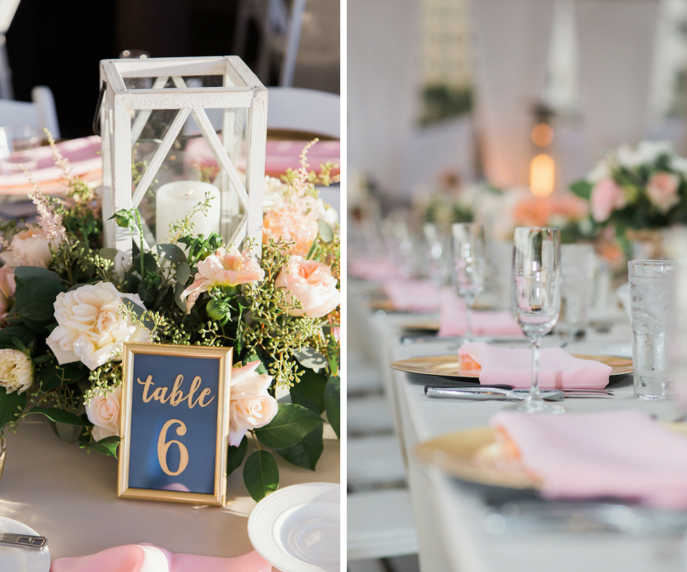 Romantic Elegant pink and white wedding reception decor | navy and gold wedding reception table number with Lantern Centerpiece and Long Feasting Tables with Gold Chargers and Pink Napkins