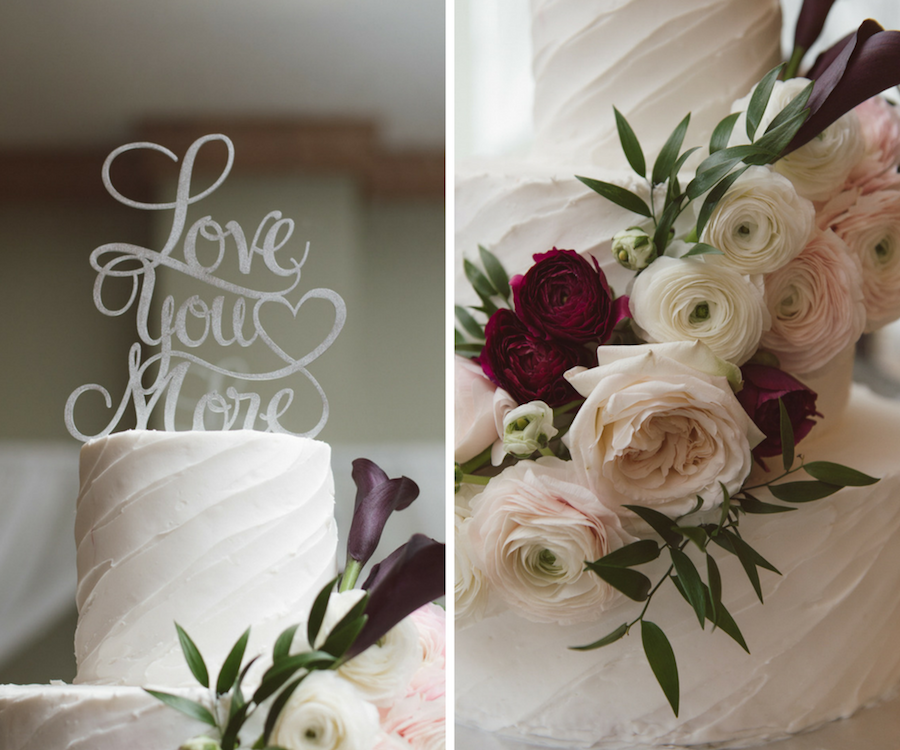 Ivory Buttercream Wedding Cake with Ivory and Purple Roses and Greenery with 'Love You More' Wedding Cake Topper