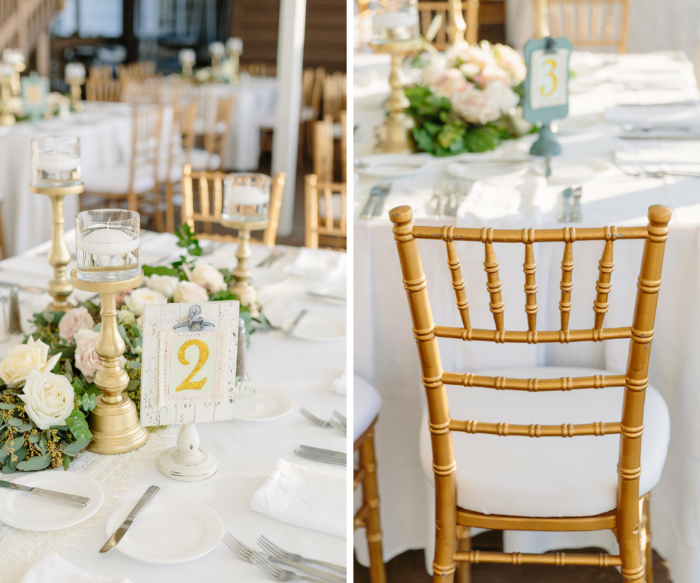 Wedding Reception with Gold, Ivory and Blush Centerpieces with Greenery and Gold Chiavari Chairs   Hotel Wedding Venue Hilton Clearwater Beach