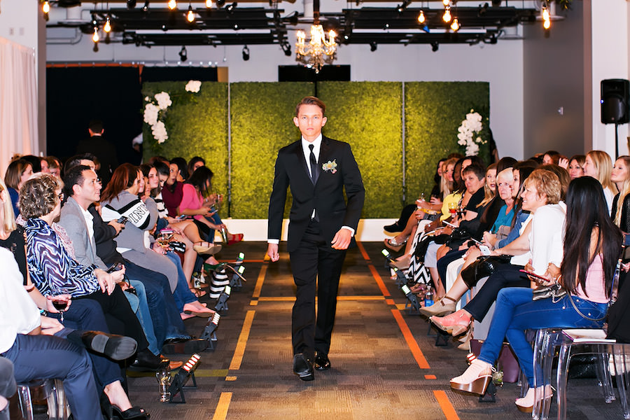 Marry Me Tampa Bay Wedding Week Bridal Fashion Runway Show | Black Groomsmen Tuxedo Suit | Tampa Bay Wedding Photographer Limelight Photography | Wedding Planner Glitz Events