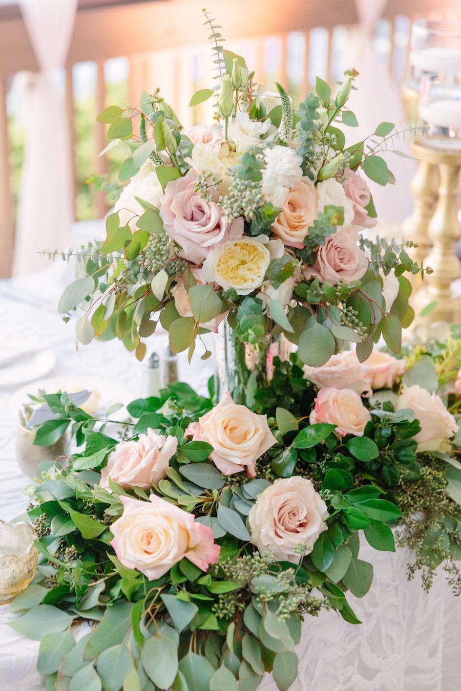Tall Blush Pink Rose and Ranunculus Wedding Centerpiece Flowers with Eucalyptus Leaves   Wedding Centerpiece Decor Ideas