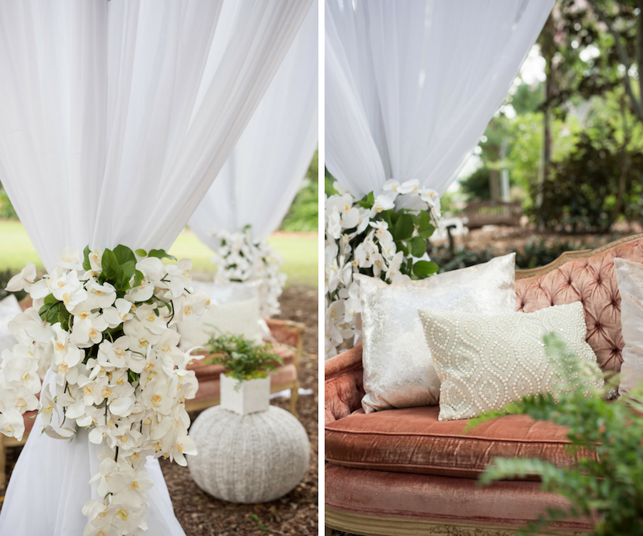 Round Draped Wedding Altar Vintage Lounge with Tufted Velvet Couch and White Orchid Flowers