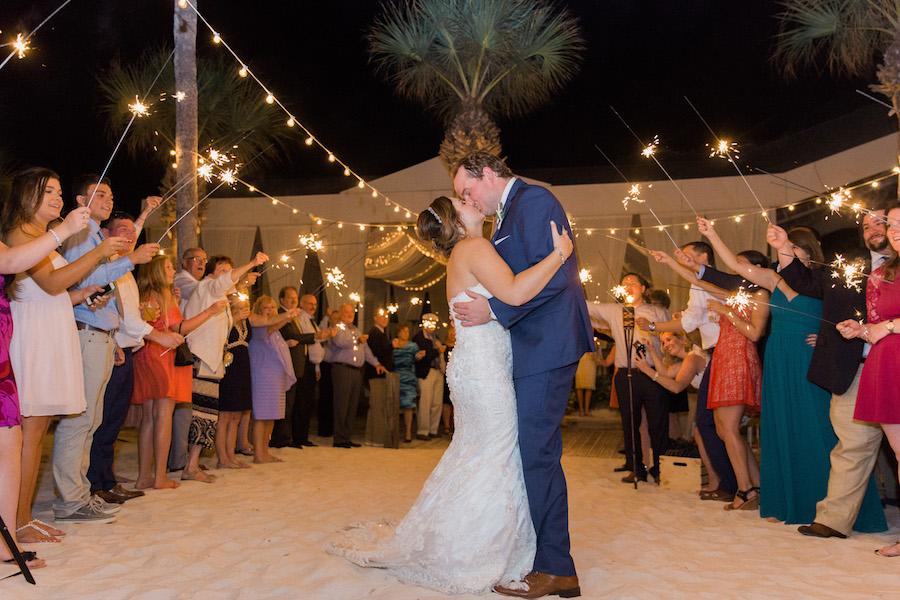 Bride and Groom Wedding Sparkler Exit | Tampa Bay Beachfront Hotel Wedding Venue Hilton Clearwater Beach