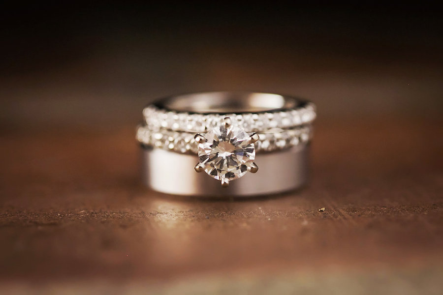 Diamond Engagement Ring and Wedding Ring with Silver Wedding Band