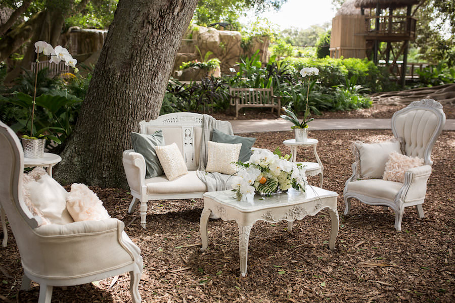 White Vintage Wedding Lounge with Tufted Velvet Couch and Chairs