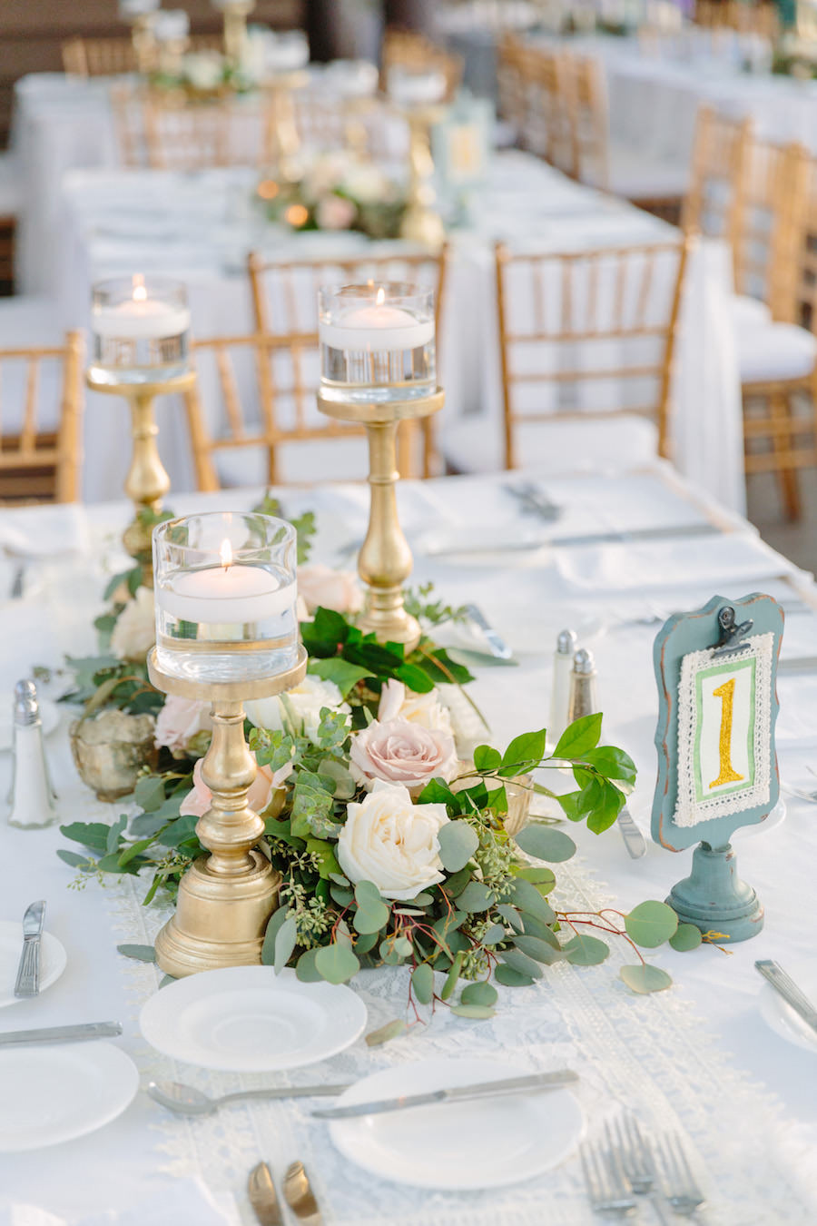 Elegant, Destination Beach Wedding Reception with Gold, Ivory and Blush Centerpieces   Hotel Wedding Venue Hilton Clearwater Beach