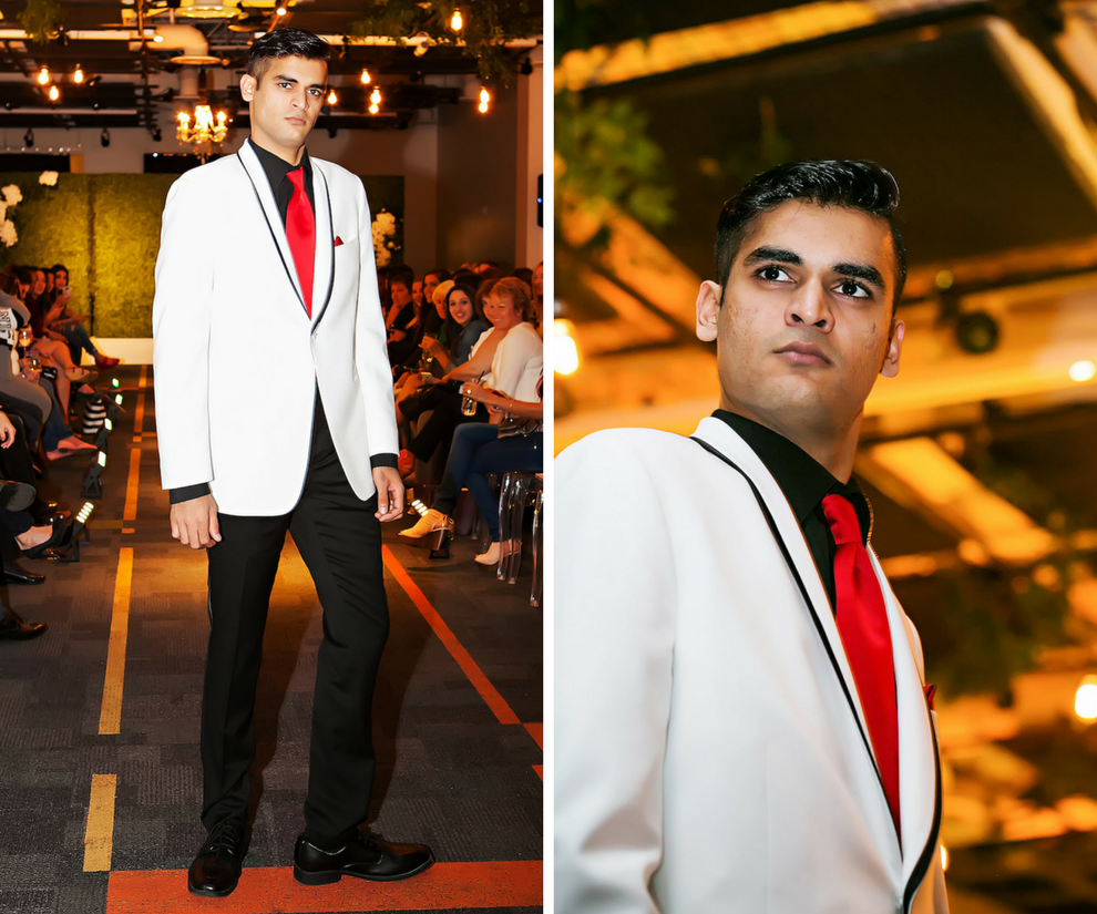 Marry Me Tampa Bay Wedding Week Bridal Fashion Runway Show | White Groomsmen Tuxedo Suit with Red Tie | Tampa Bay Wedding Photographer Limelight Photography | Wedding Planner Glitz Events