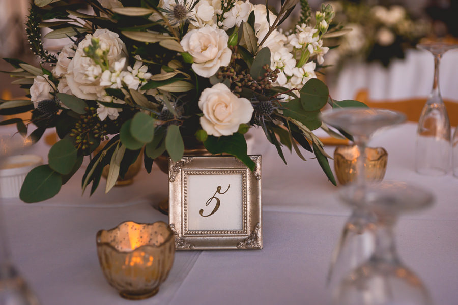 Ivory Roses And Greenery Wedding Centerpiece Flowers With Tealight