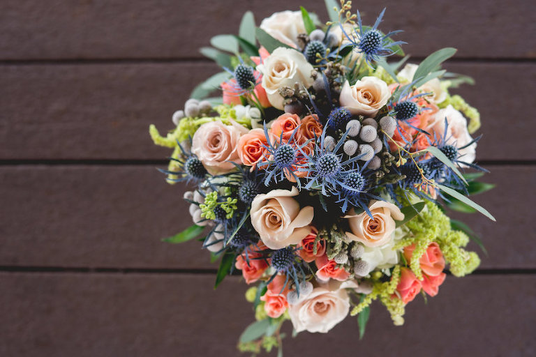 Blush, Peach, Blue and Greenery Nautical Chic Wedding Bouquet | Tampa Bay Wedding Photographer Grind and Press Photography