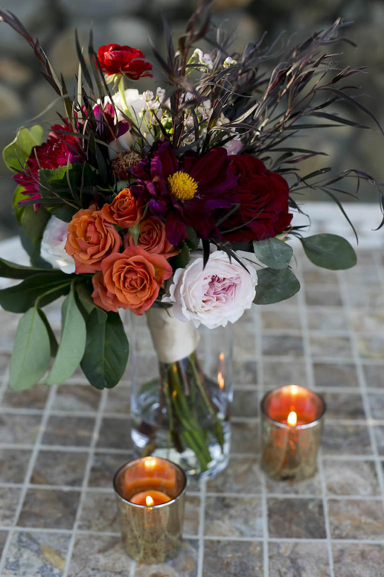 Burgundy and Orange Fall Themed Wedding Decor Bouquet with Dahlias, Sunflowers and Roses