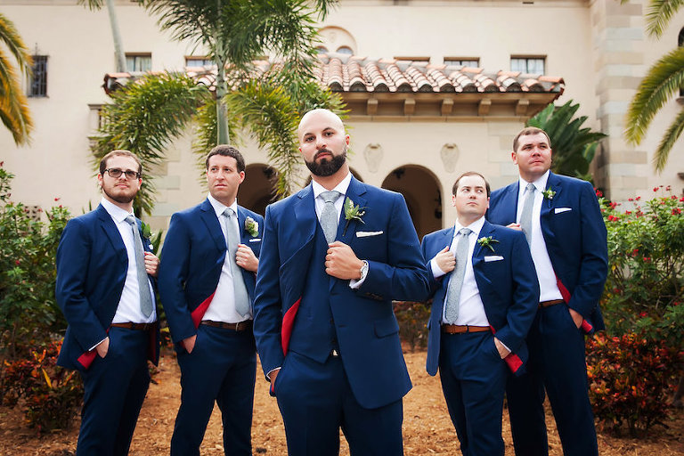 Powel Crosley Estate Groom and Groomsmen with Navy Blue and Grey Wedding Portrait | Tampa Bay Wedding Photographer Limelight Photography