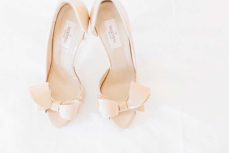 Blush Pink Valentino Open Toe Wedding Shoes with Bow