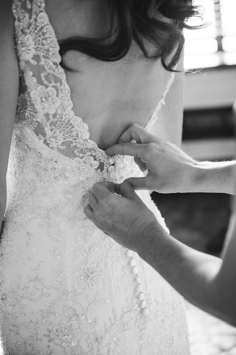 Bridal Getting Ready Wedding Portrait in a Backless Ivory Allure Beaded Sheath Wedding Dress with Back Button Closure | Sarasota Wedding Photographer Marc Edwards Photographs
