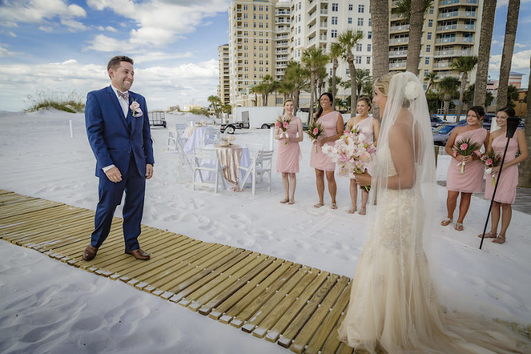 Tampa Bay And Groom First Look Wedding Portrait Outdoor Waterfront Hotel Venue Hilton Clearwater