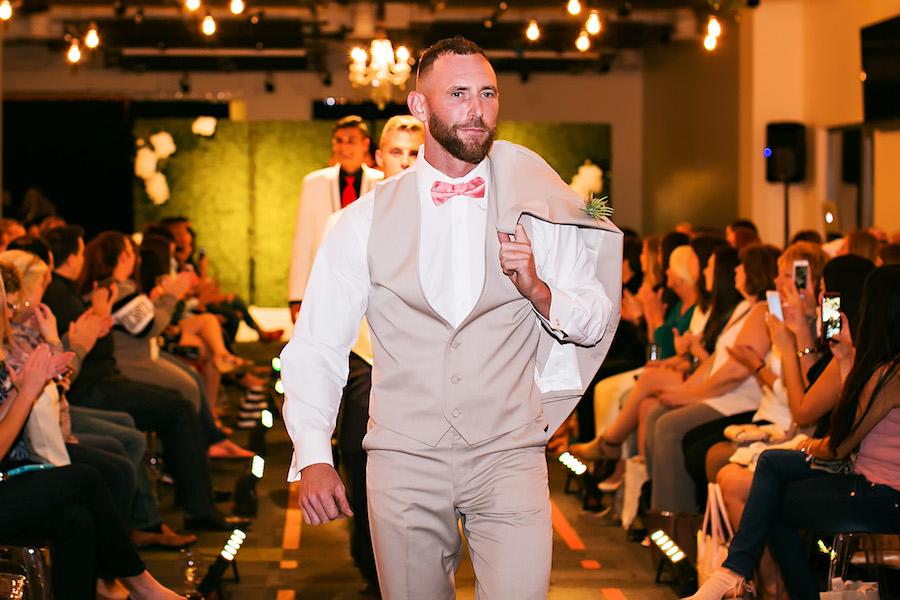 Marry Me Tampa Bay Wedding Week Bridal Fashion Runway Show | Tan Groomsmen Tuxedo Suit | Tampa Bay Wedding Photographer Limelight Photography | Wedding Planner Glitz Events