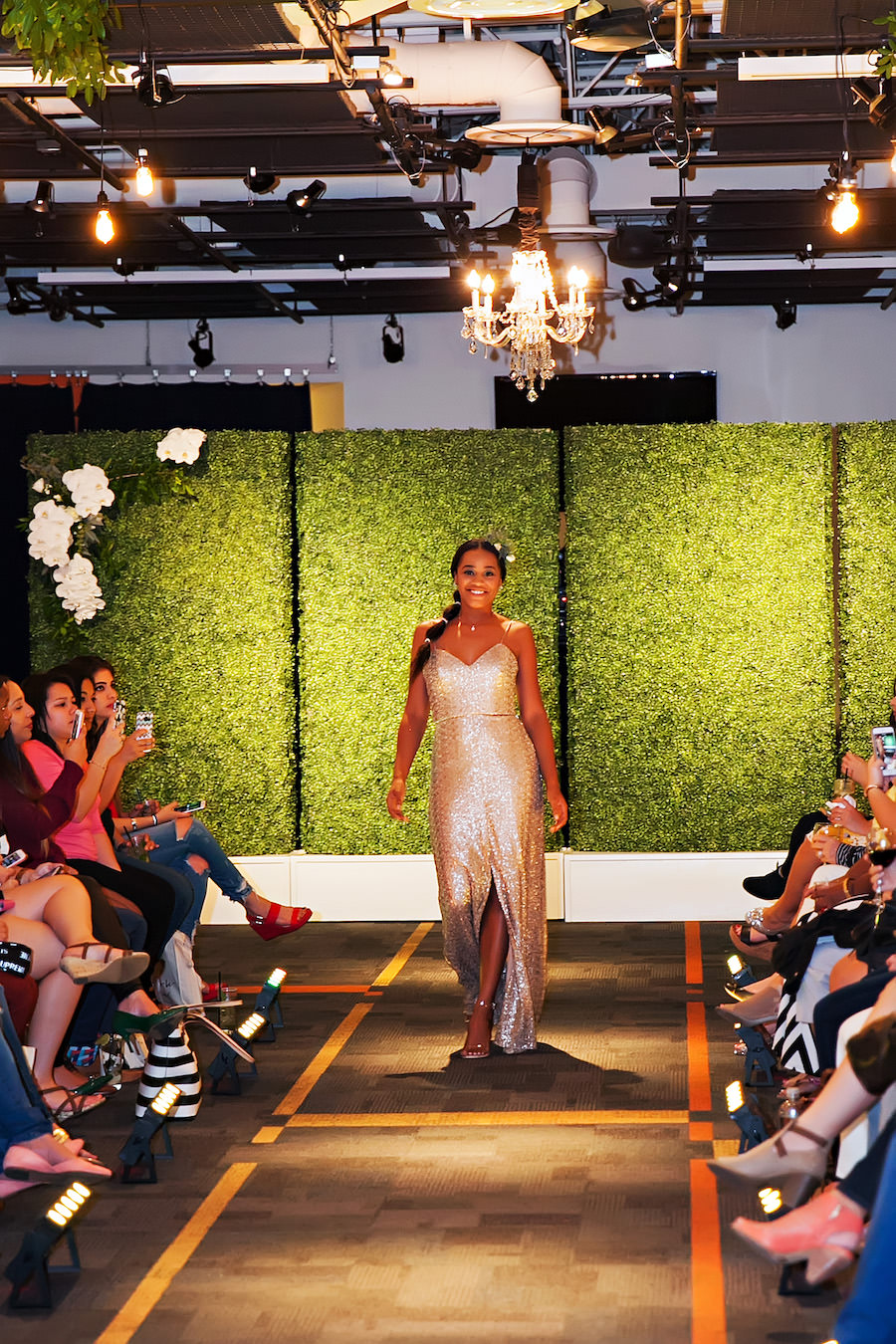 Sequined Gold Bridesmaid Dress | Marry Me Tampa Bay Wedding Week Bridal Fashion Runway Show | Tampa Bay Wedding Photographer Limelight Photography | Wedding Planner Glitz Events | Hair and Makeup Artist Michele Renee The Studio