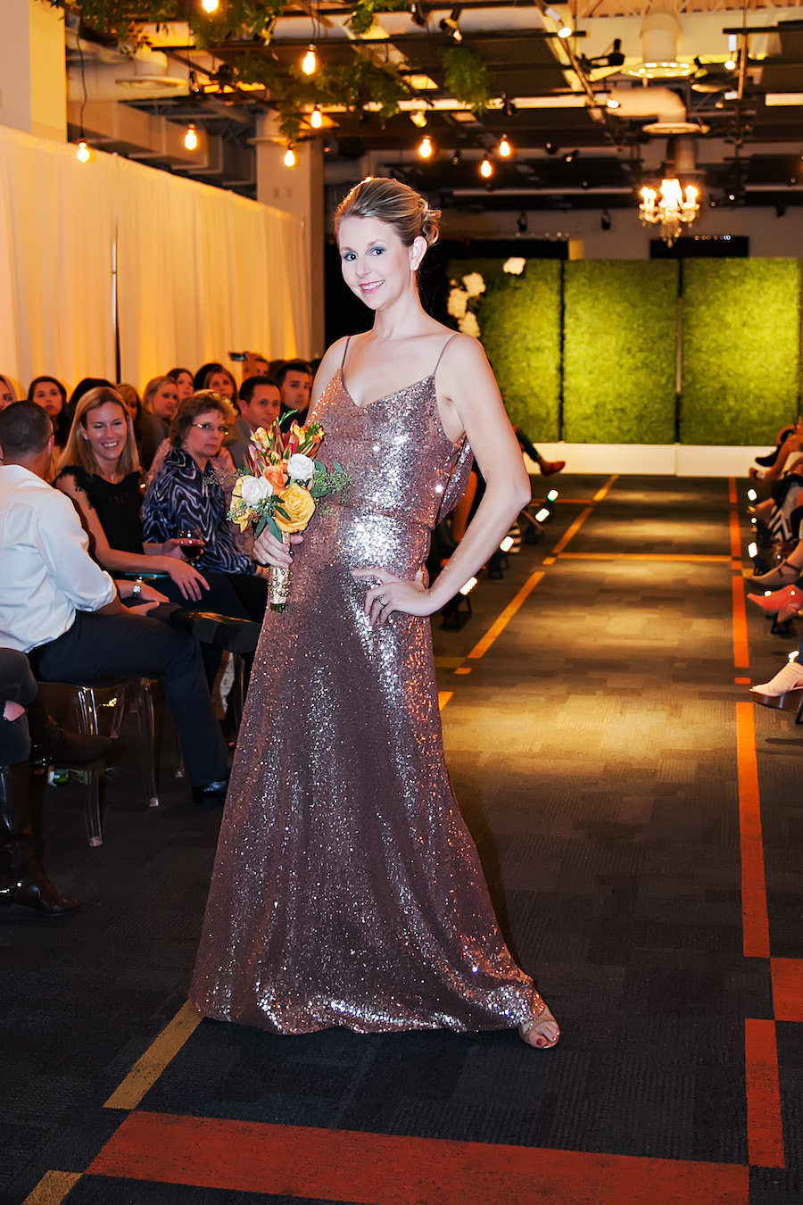 Sequined Waters 2301 Rose Gold Bridesmaid Dress | Marry Me Tampa Bay Wedding Week Bridal Fashion Runway Show | Tampa Bay Wedding Photographer Limelight Photography | Wedding Planner Glitz Events | Hair and Makeup Artist Michele Renee The Studio