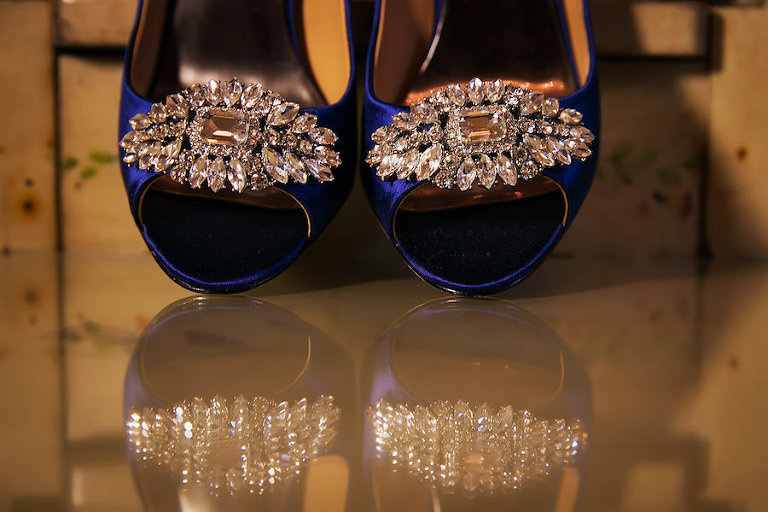 Blue and Crystal Bridal Wedding Heels