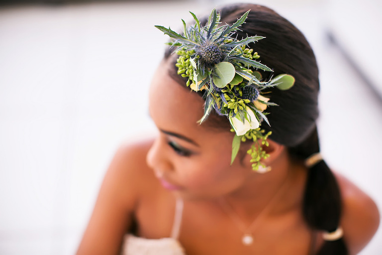 Unique Greenery Succulent Bridal Hairpiece Accessory | Tampa Bay Wedding Photographer Limelight Photography | Hair and Makeup Artist Michele Renee the Studio