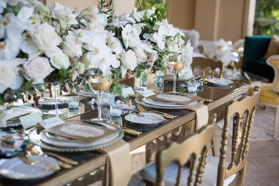 Outdoor Elegant, Sophisticated Vintage Wedding Reception Ideas & Inspiration with Gold Chairs, China and Beaded Chargers and White Floral Centerpieces | Sarasota Wedding Planner NK Productions