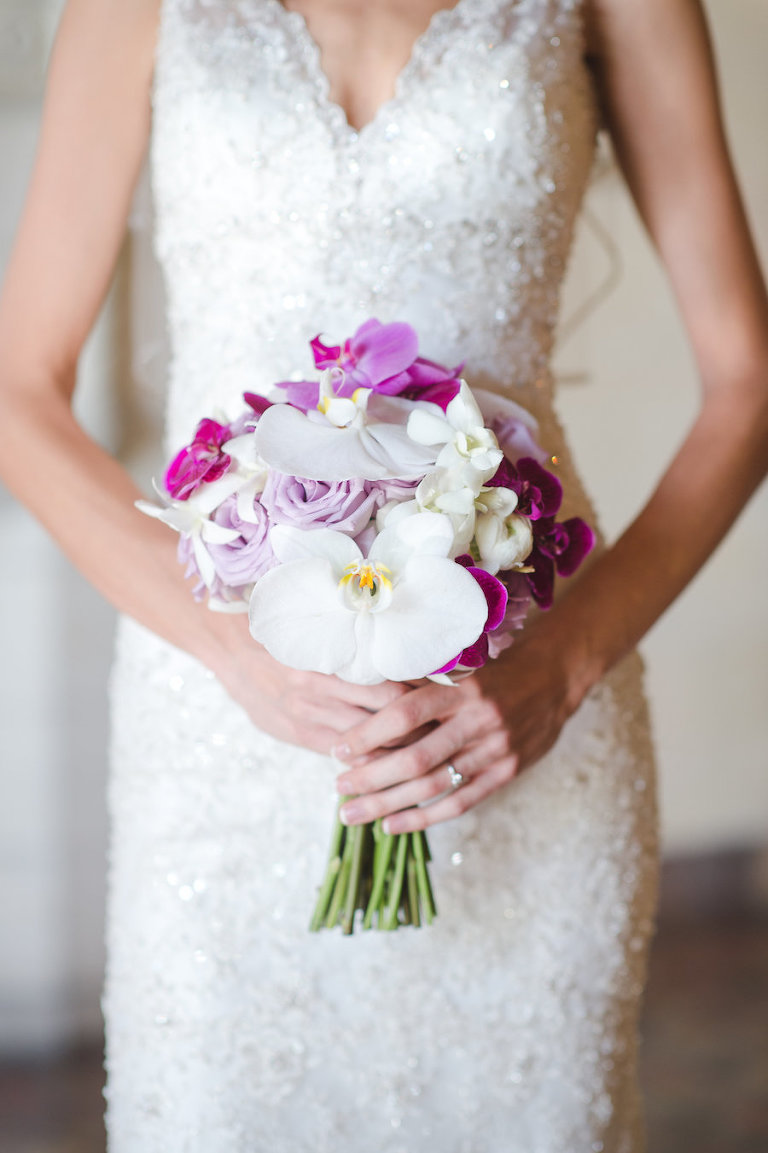 Bridal Wedding Portrait in an Ivory Allure Beaded Sheath Wedding Dress with White and Fuchsia Orchid Wedding Bouquet | Sarasota Wedding Photographer Marc Edwards Photographs