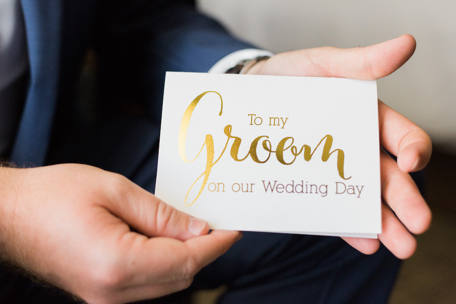 White and gold wedding card to groom