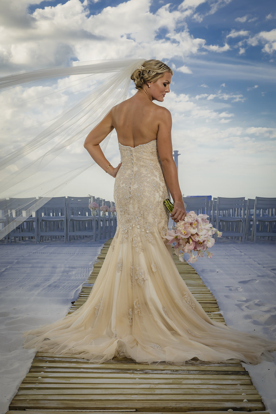 Outdoor, Clearwater Beach Bride Wedding Portrait with Strapless Beaded Stella York Wedding Dress and Long Veil