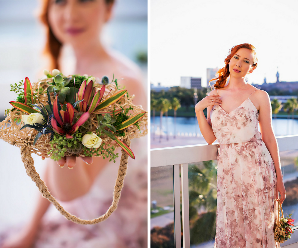 Unique Greenery Tropical Twine Bridal Hairpiece Accessory | Tampa Bay Wedding Photographer Limelight Photography | Hair and Makeup Artist Michele Renee the Studio | Pastel Floral Bridesmaid Dresses