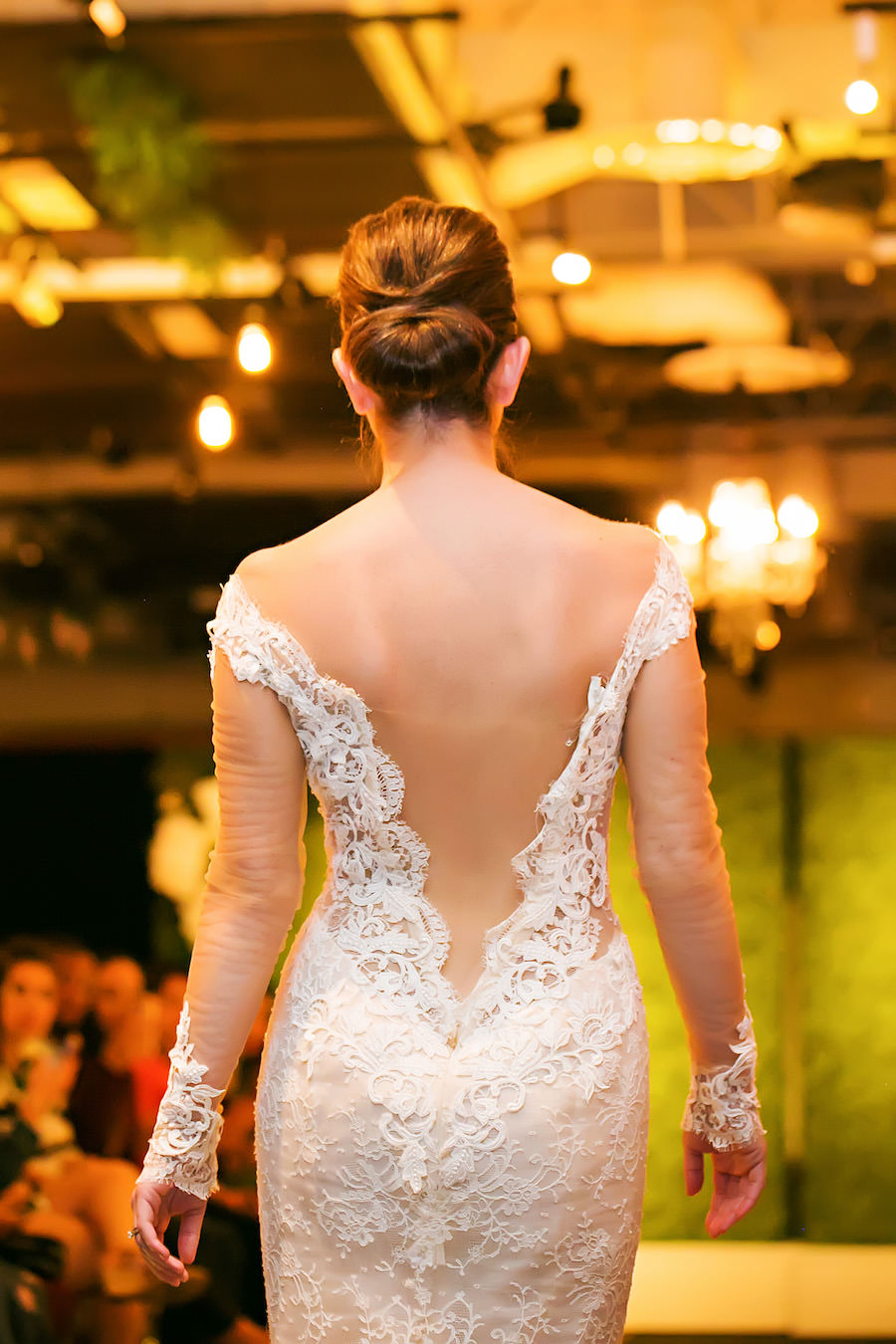Low Cut Back Lace Wedding Dress | Marry Me Tampa Bay Wedding Week Bridal Fashion Runway Show | Tampa Bay Wedding Photographer Limelight Photography | Wedding Planner Glitz Events | Hair and Makeup Artist Michele Renee The Studio | Couture Wedding Dress Shop Isabel O'Neil Bridal