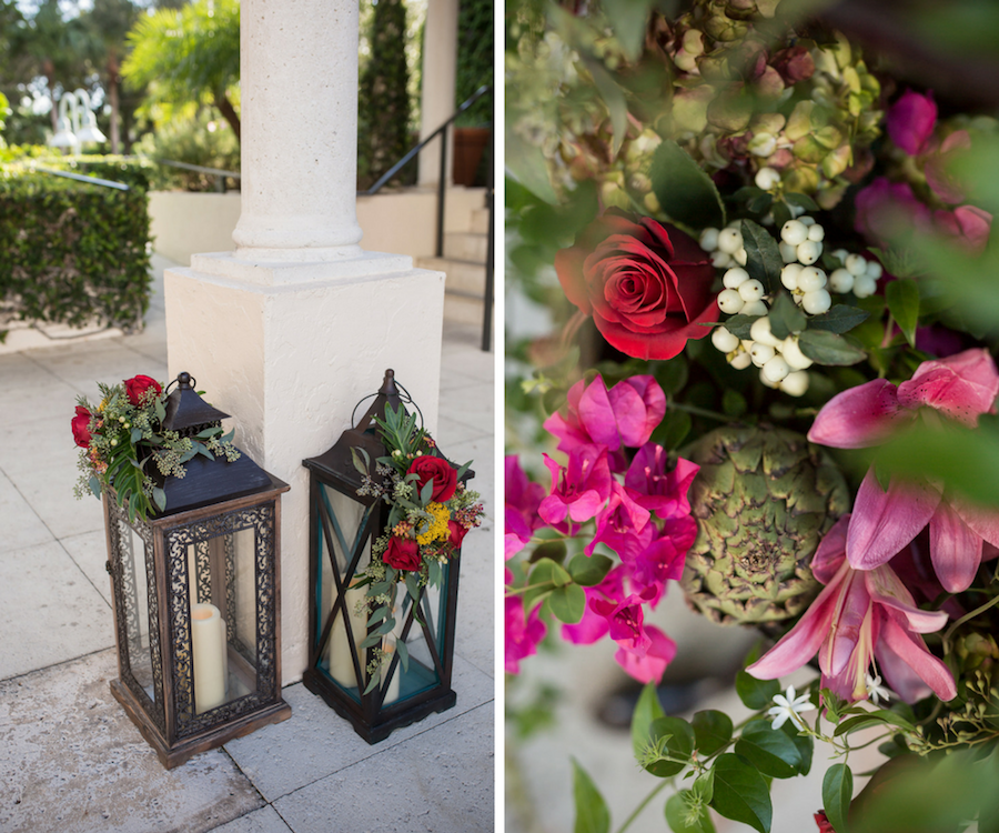 Tall Lantern Wedding Decor with Pink and Red Floral Centerpieces