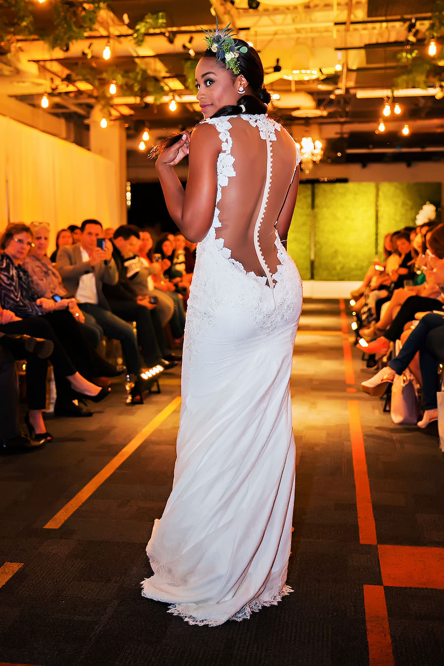 Nude Sheer Button Up Back Bianca Wedding Dress | Marry Me Tampa Bay Wedding Week Bridal Fashion Runway Show | Tampa Bay Wedding Photographer Limelight Photography | Wedding Planner Glitz Events | Hair and Makeup Artist Michele Renee The Studio | Couture Wedding Dress Shop Isabel O'Neil Bridal
