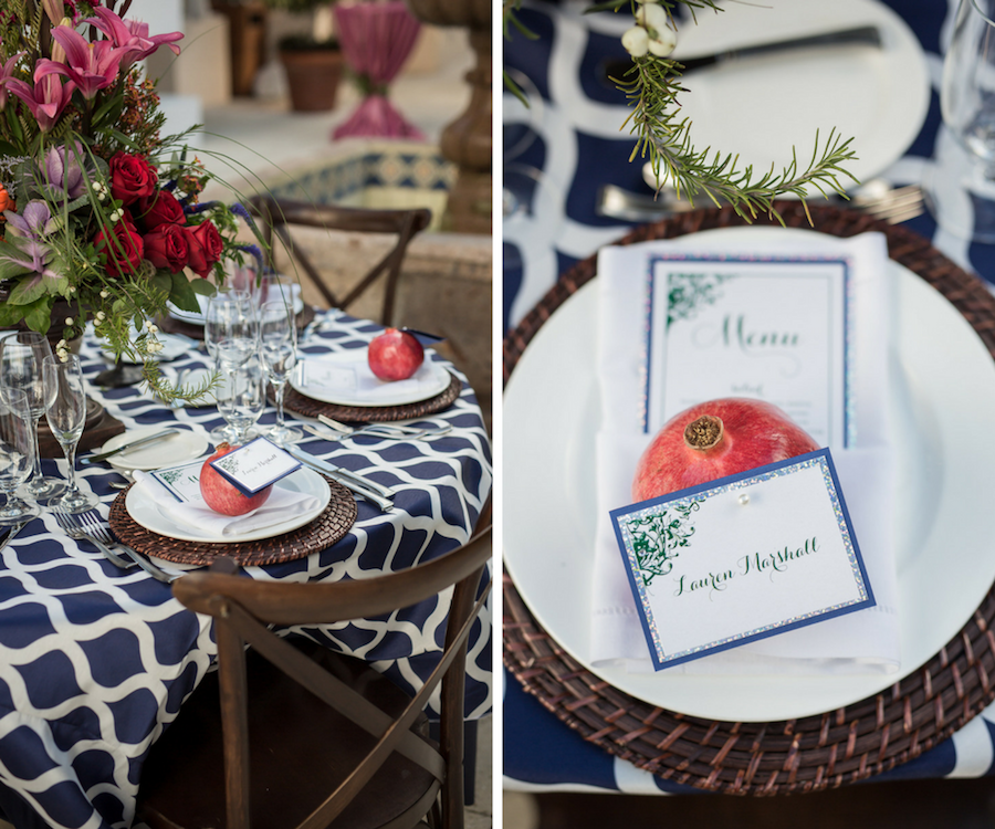 Outdoor Nautical Inspired Wedding Reception Decor with Navy Blue and White Linen and Pomegranate Fruit Place Cards | Waterfront Sarasota Wedding Venue Longboat Key Club | Sarasota Wedding Planner NK Productions