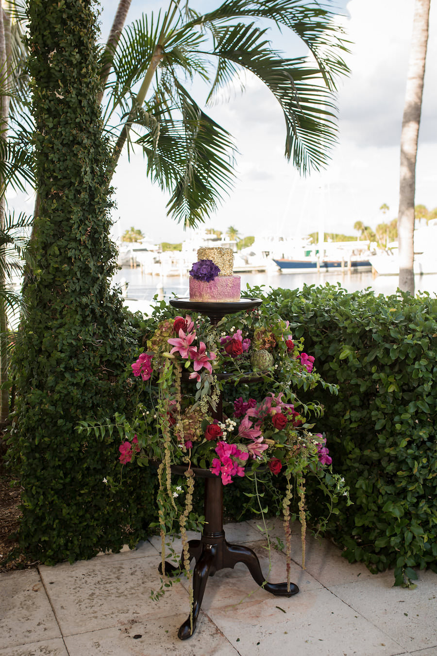 Tropical Floral Cake Stand with Pink, Gold and Purple Wedding Cake | Modern Wedding Cake Ideas & Inspiration