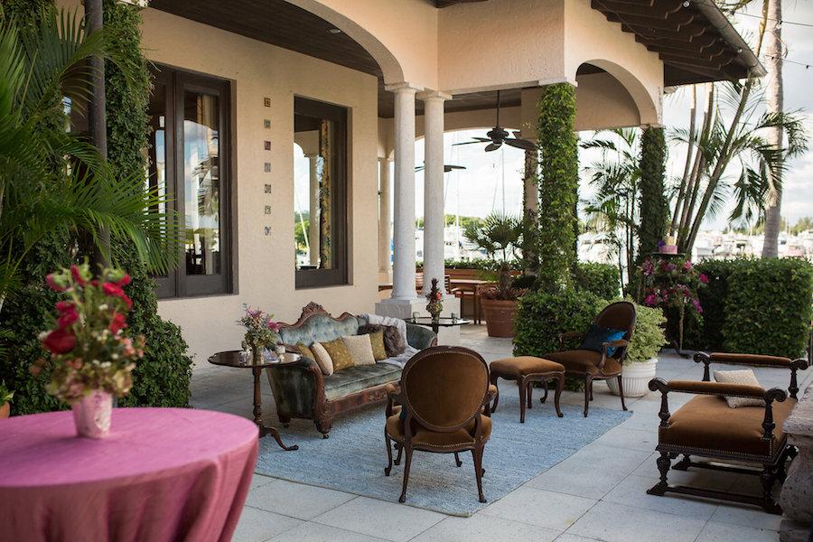 Brown Vintage Tufted Velvet Lounge Furniture | Waterfront Sarasota Wedding Venue Longboat Key Club