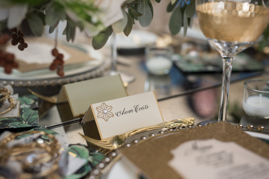 Outdoor Elegant, Sophisticated Vintage Wedding Reception Ideas & Inspiration with Gold Place Cards, China and Beaded Chargers and White Floral Centerpieces | Sarasota Wedding Planner NK Productions