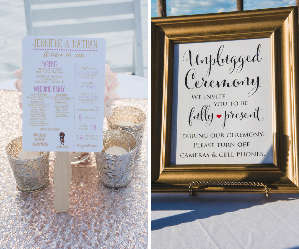 Beach Gold, Pink and White Wedding Ceremony Sign with Silver and White Candles on Blush Pink Sequin Table Linein   Gold and White Wedding Ceremony Sign   Beach Wedding Decor and Inspiration