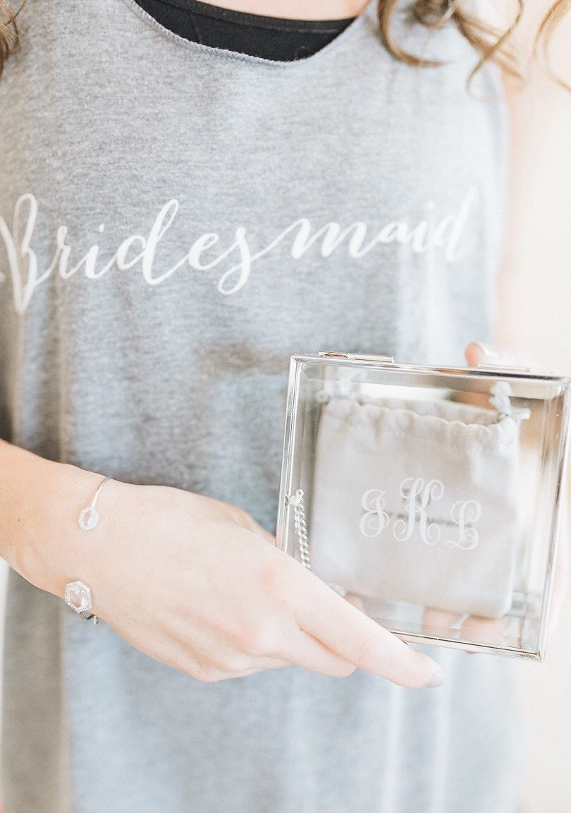 Bridesmaid Tank Top with Monogrammed Glass Gift