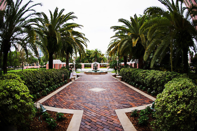 Outdoor Garden Wedding Ceremony at Historic St. Petersburg Wedding Venue The Renaissance Vinoy Tea Garden