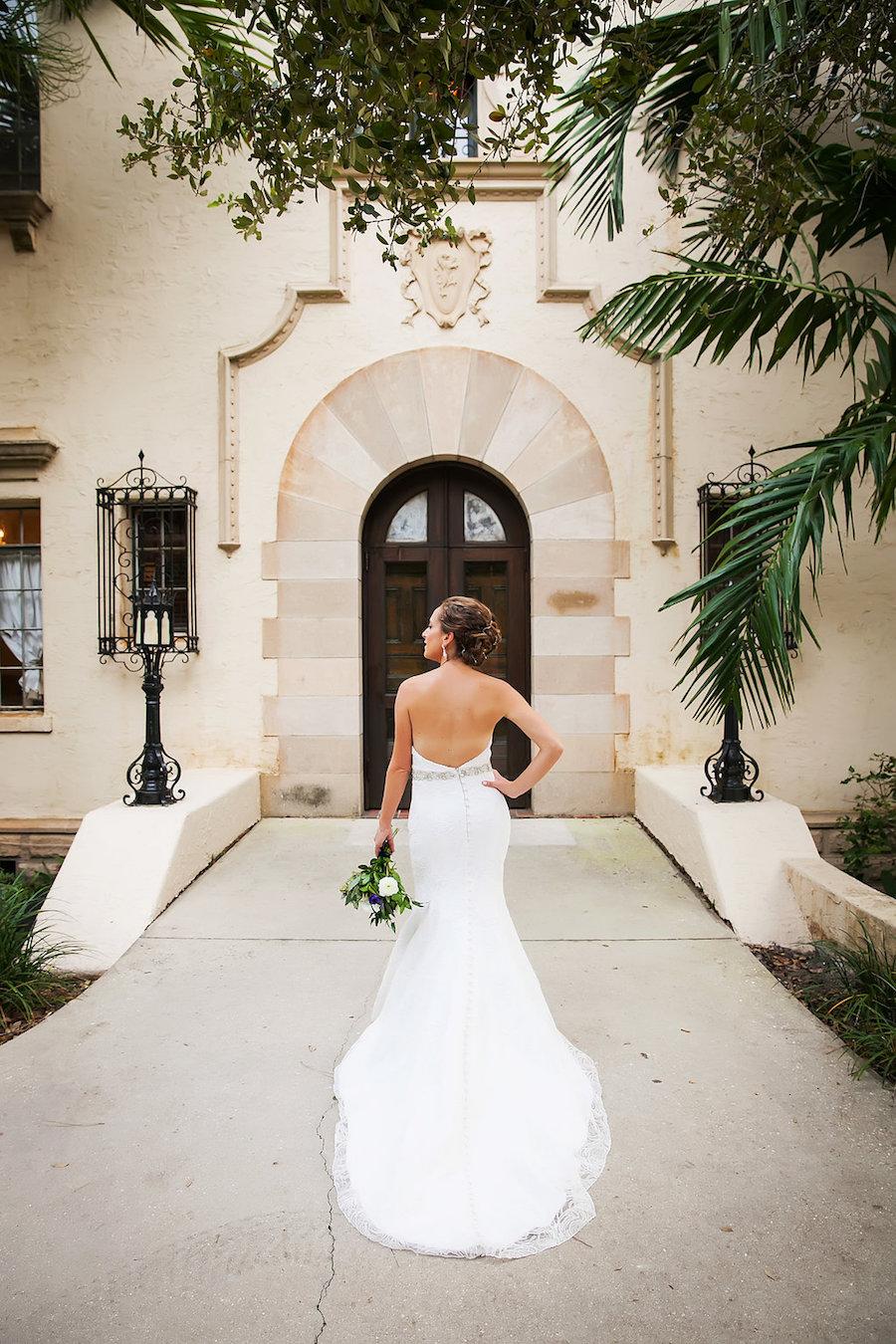 Bride Portrait with Ivory Anna Maier Strapless Wedding Dress   Tampa Bay Wedding Photographer Limelight Photography   Powel Crosley Estate