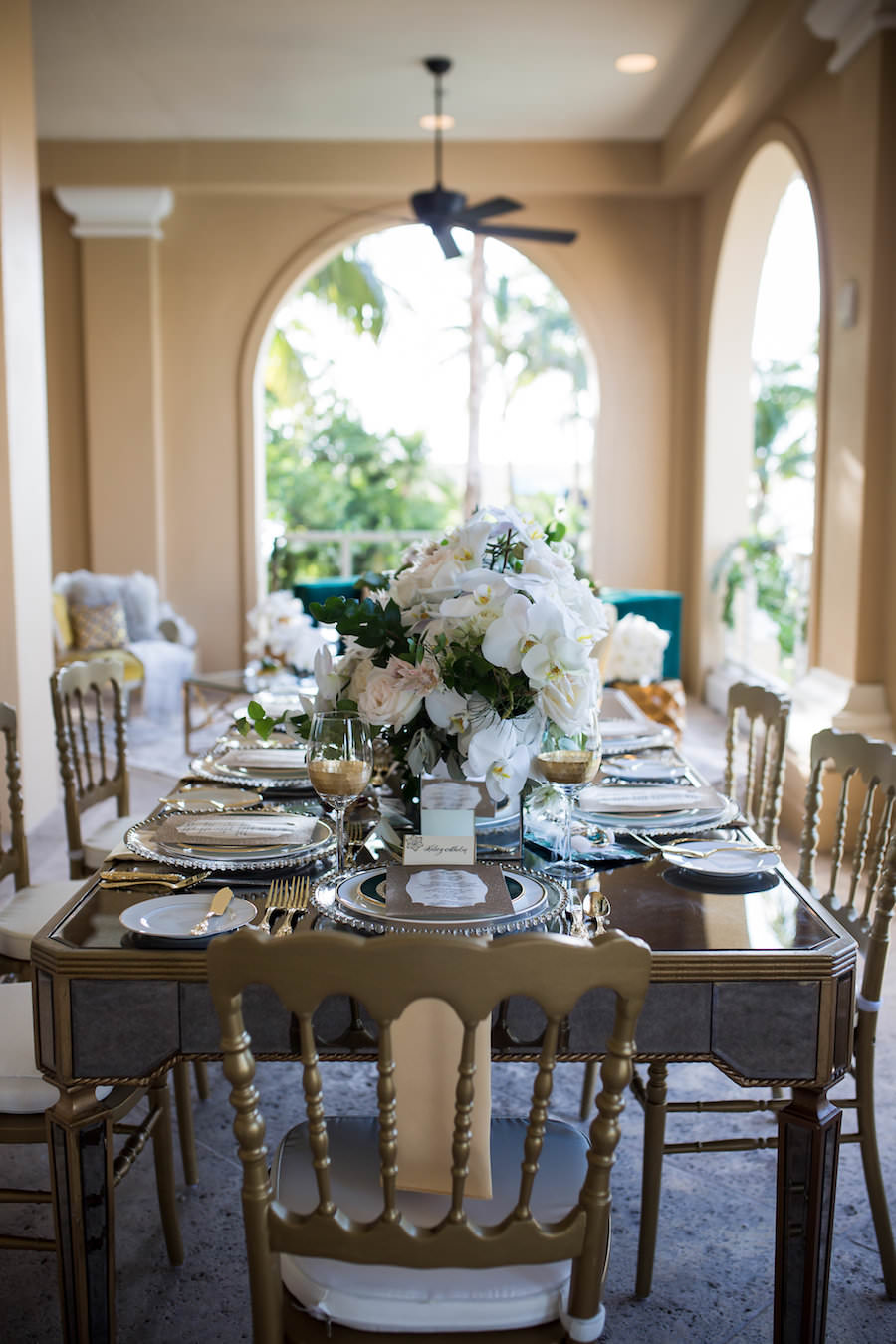 Outdoor Elegant, Sophisticated Vintage Wedding Reception Ideas & Inspiration with Gold Chairs, White Centerpieces | Sarasota Wedding Planner NK Productions