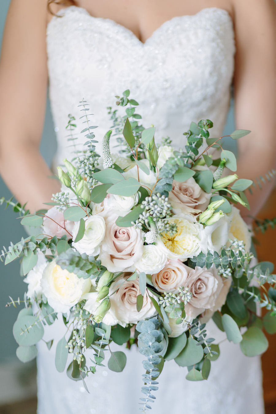 Bridal Wedding Portrait In Ivory Beaded Lace Sweetheart Wedding