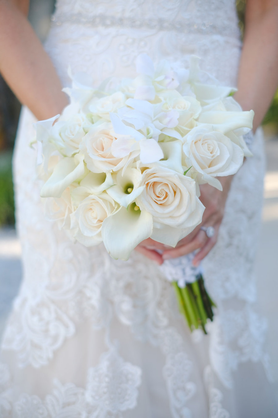 Blush And Ivory Rose Bridal Wedding Bouquet And Lace Allure Bridal